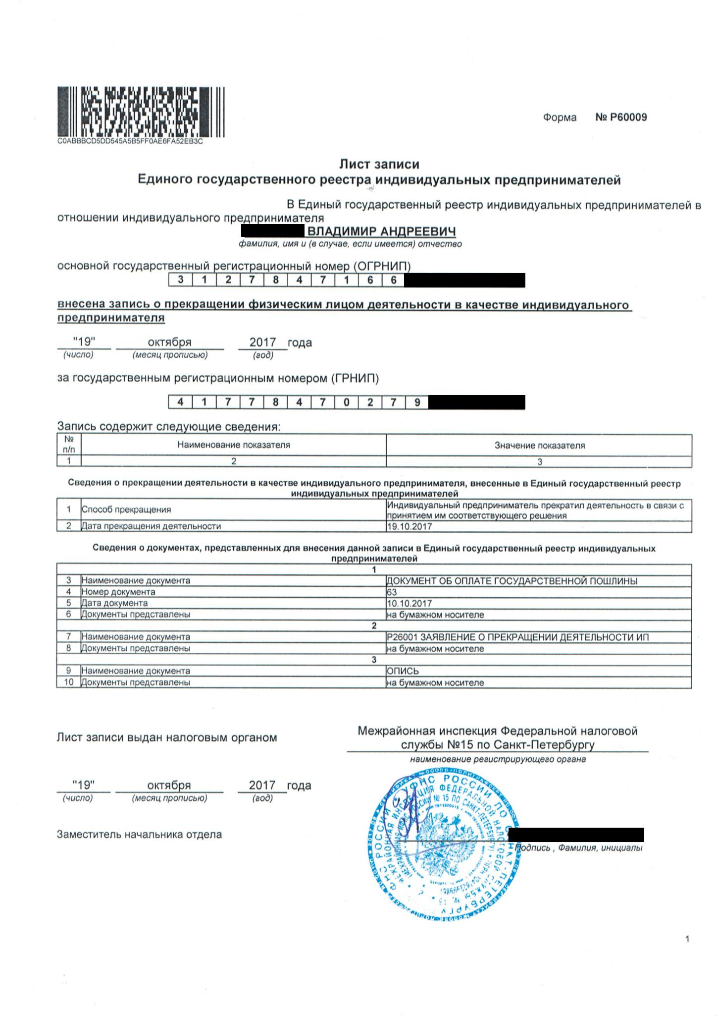 Так выглядит уведомление о снятии с учета и лист записи ЕГРИП