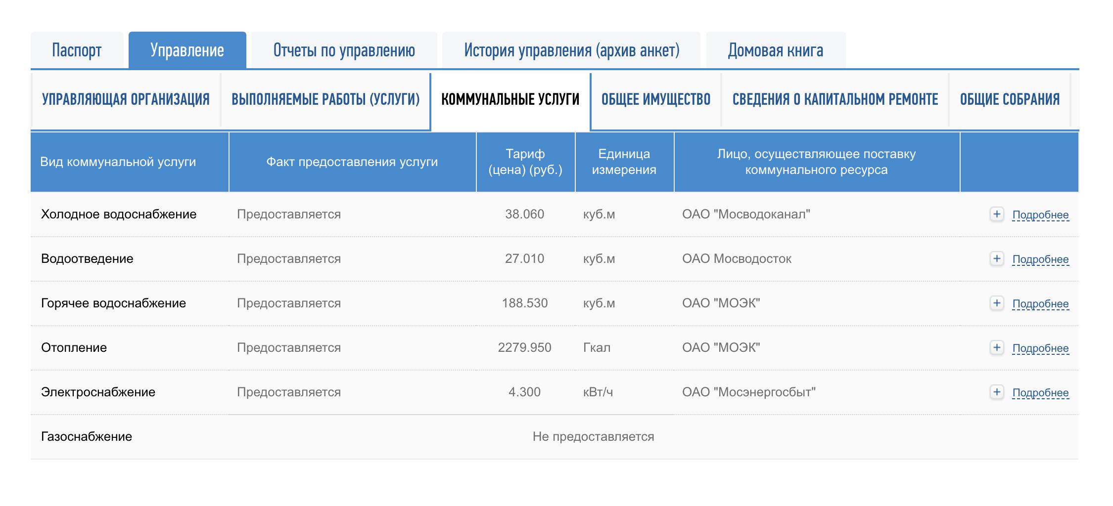 Тут же можно посмотреть список поставщиков услуг, кому УК перечисляет платежи, и тарифы на эти услуги