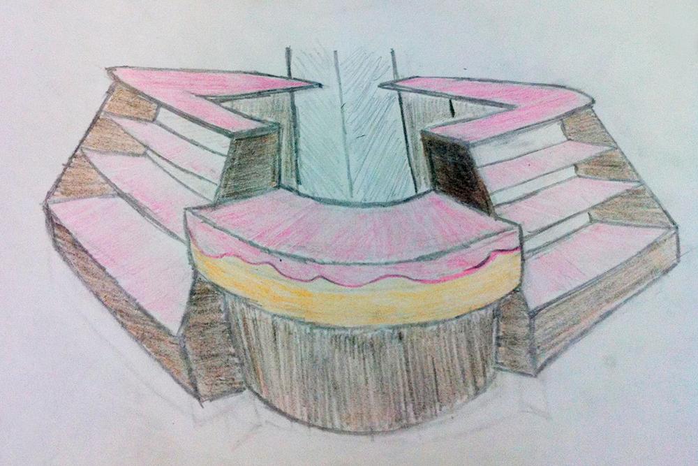 Нас попросили предоставить макет островка. Мы сэкономили и не стали обращаться к дизайнеру — сами придумали все и нарисовали. Но то, что мы нарисовали, оказалось слишком сложно соорудить. Мы собрали стойку проще: купили фанеру, покрасили ее «зеброй» и украсили деревянными полосками