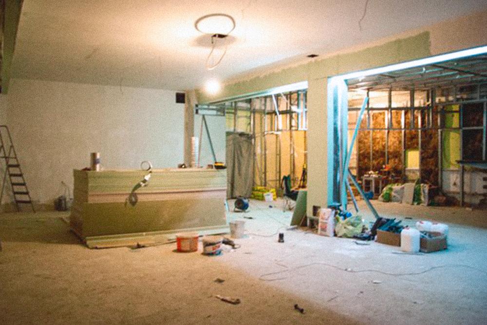 Так выглядел основной зал во время ремонта