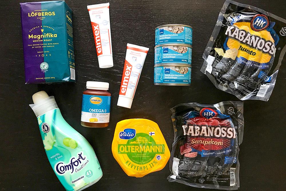Кофе, зубная паста, кондиционер, витамины, сыр, тунец и сосиски из Финляндии — всего на 24€