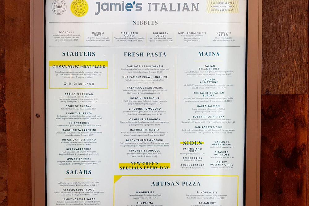 Цены в ресторане Джейми Оливера. Пицца с трюфелем — 22,95$ (1102<span class=ruble>Р</span>)