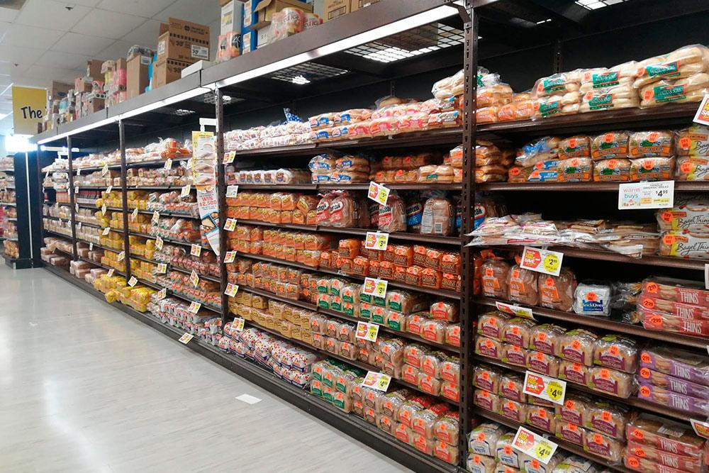 Ассортимент хлеба в супермаркете «Шоп-райт»