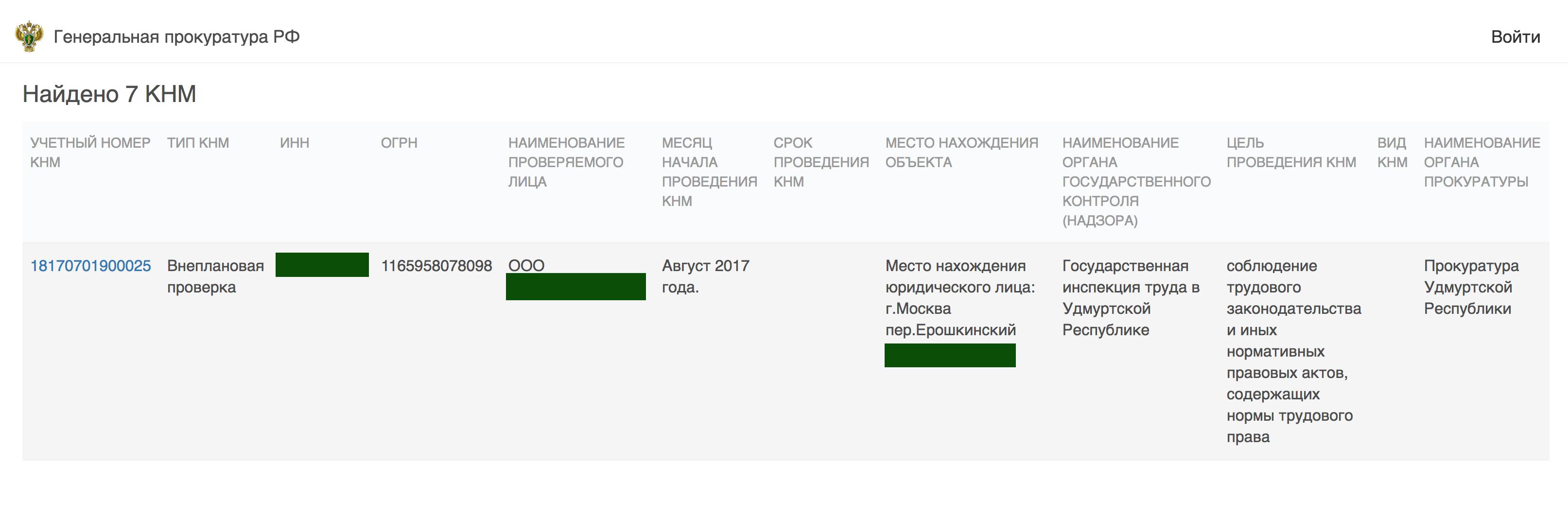 Данные о проверке компании в едином реестре проверок на сайте прокуратуры