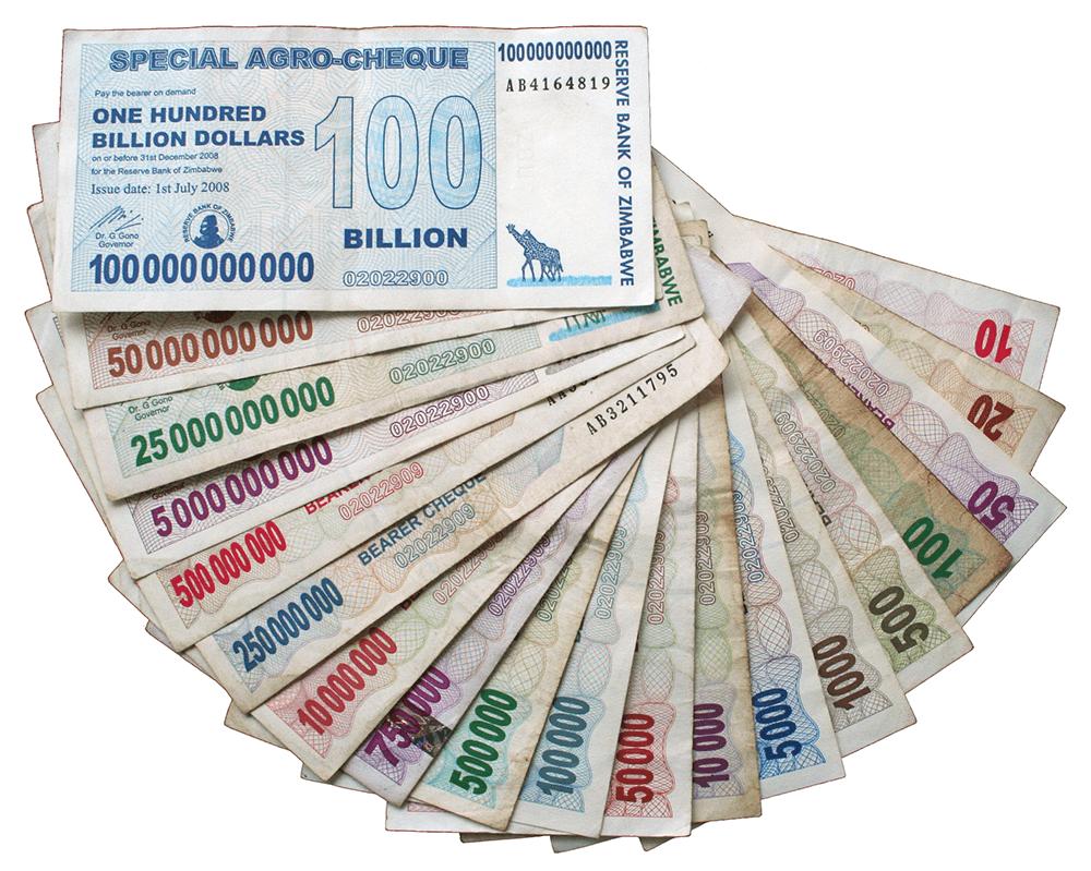 Доллары Зимбабве второй волны. Бумага, из которой они сделаны, стоила дороже, чем сами банкноты. В магазин надо было идти с тележкой таких денег