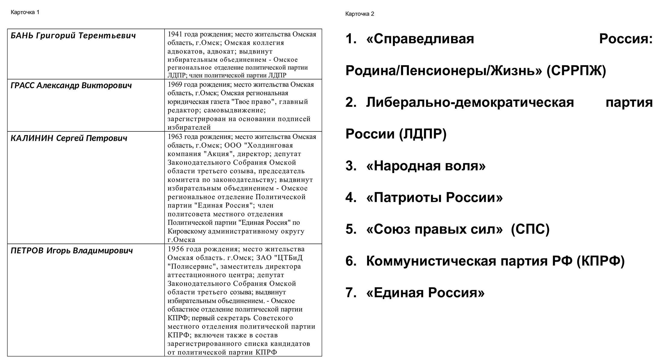Анкету дополняют две карточки на отдельных листах, которые интервьюер показывает во время опроса