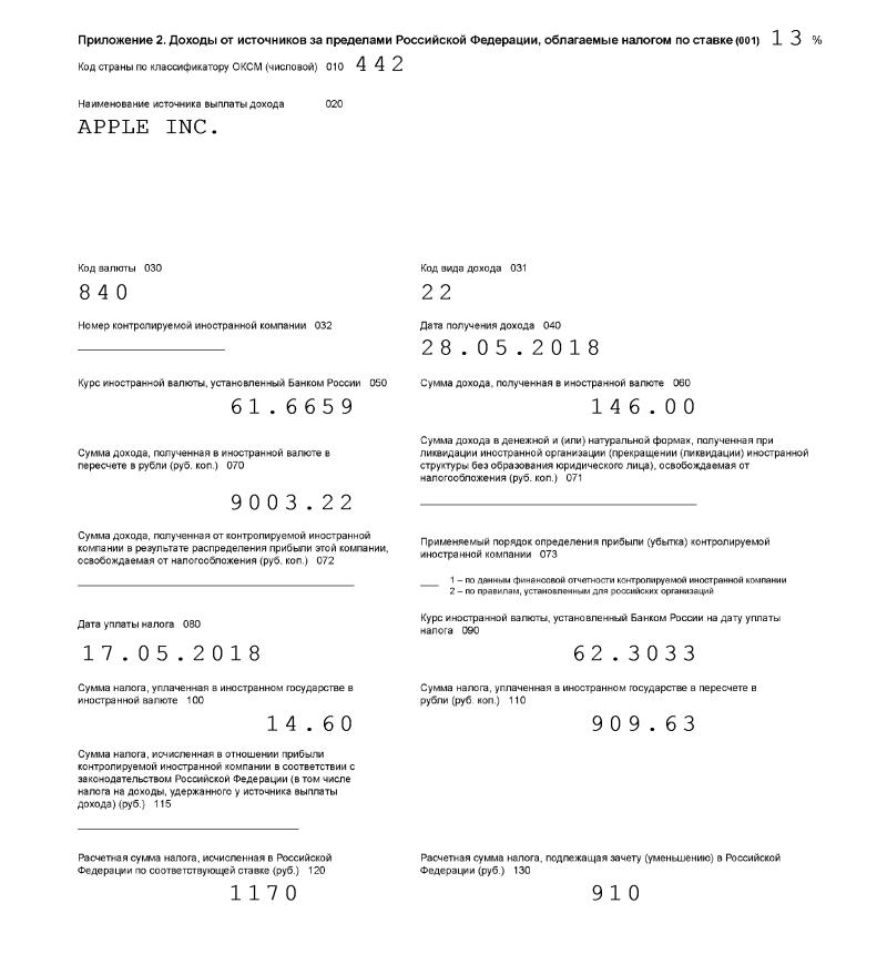 Так выглядит лист декларации в печатной форме