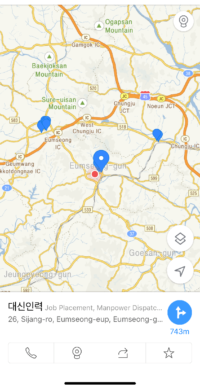 Синим цветом отмечены ближайшие к вам центры трудоустройства