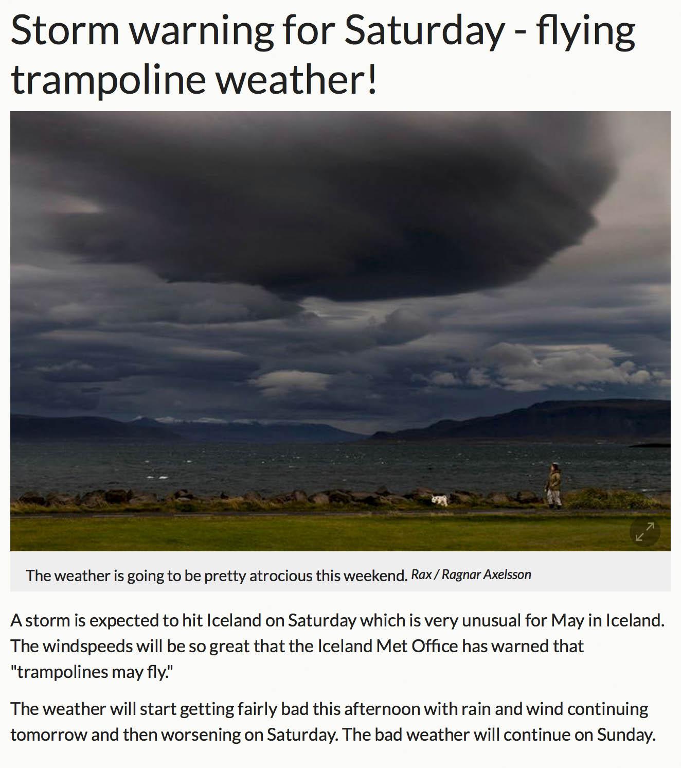 Так в газете предупреждают о надвигающемся шторме. Заголовок гласит: «В субботу будет погода летающих батутов»