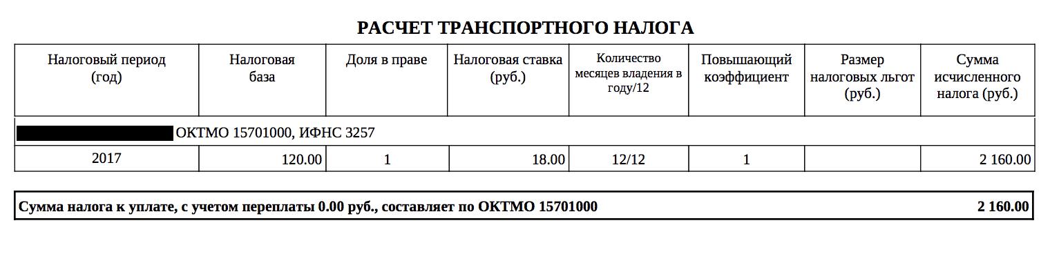 Выписка из налогового уведомления по транспортному налогу