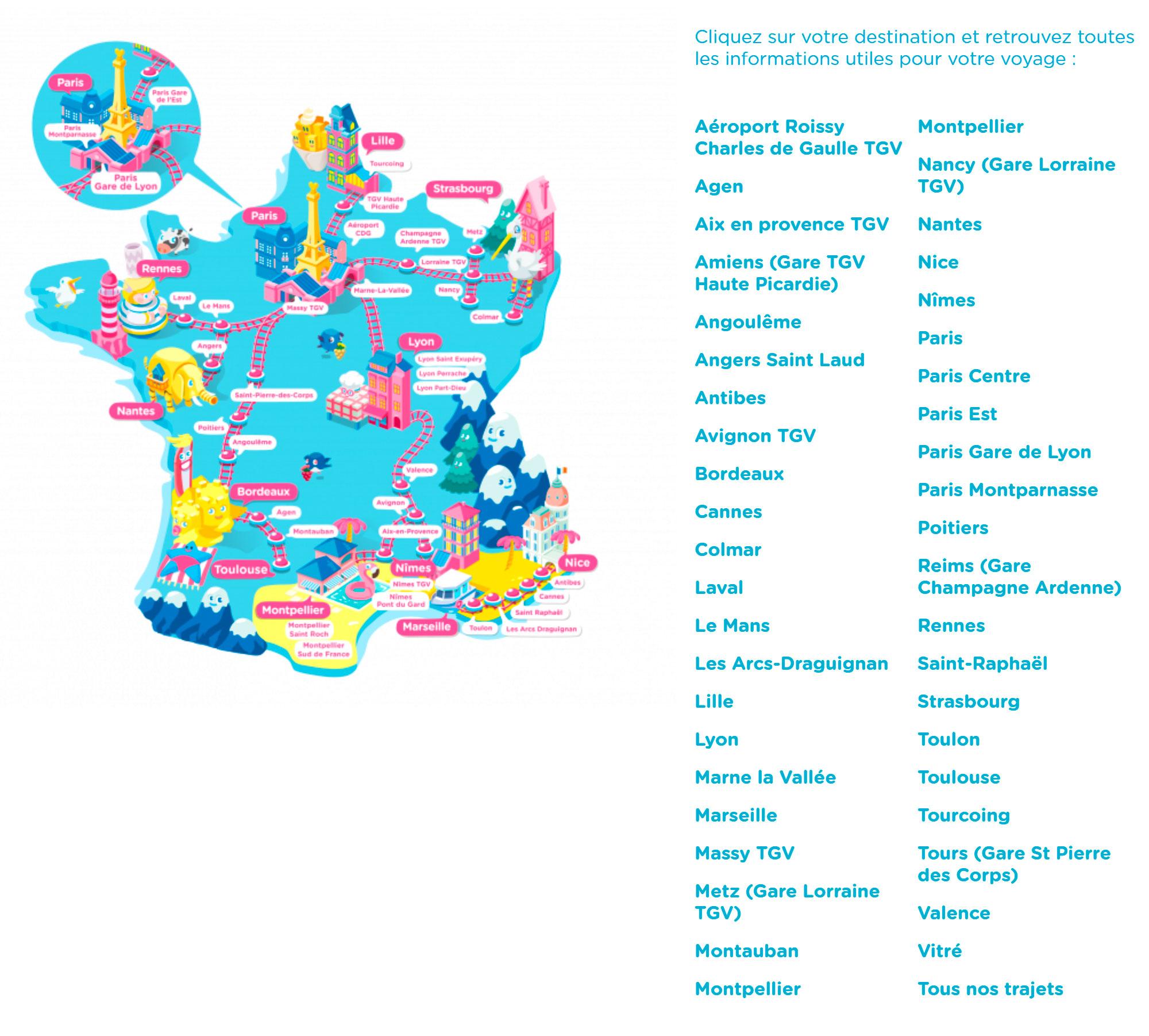 Миленькая карта ж/д маршрутов по Франции
