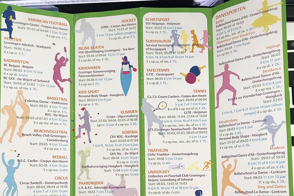 Брошюра со списком разных спортивных секций, которые есть в Гронингене