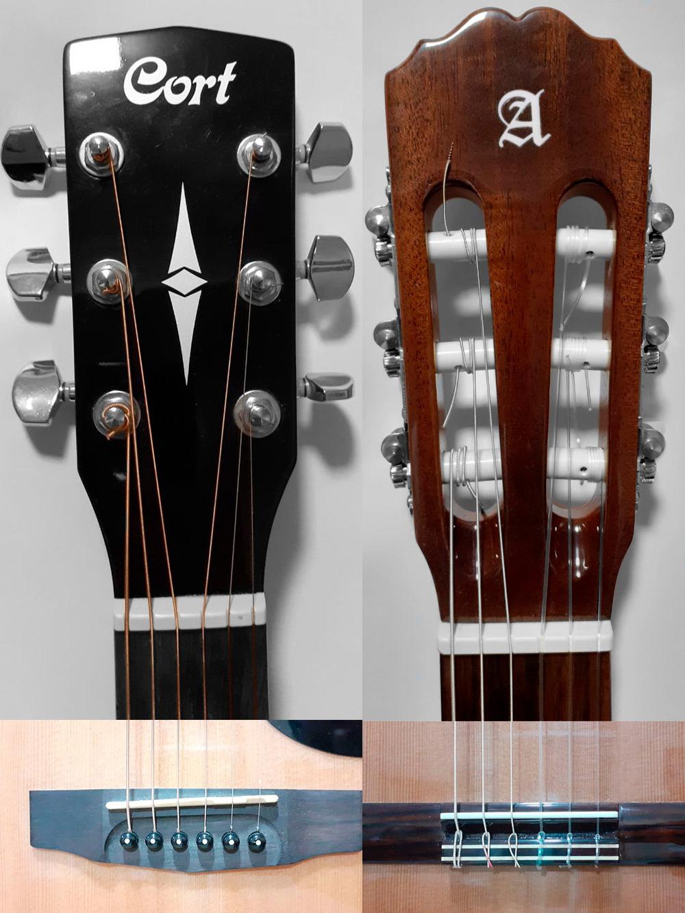 Слева акустическая гитара с металлическими струнами, справа — классическая с нейлоновыми