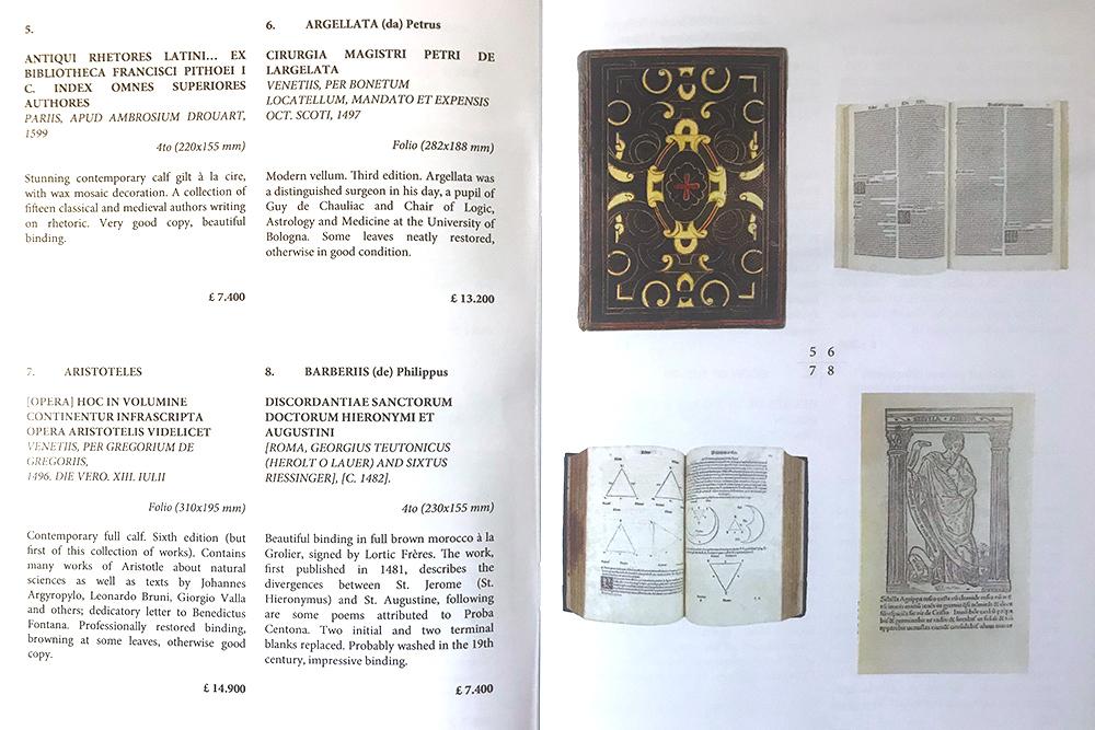 Три инкунабулы и палеотип на странице выставочного каталога одного из значительных туринских магазинов Il Cartiglio