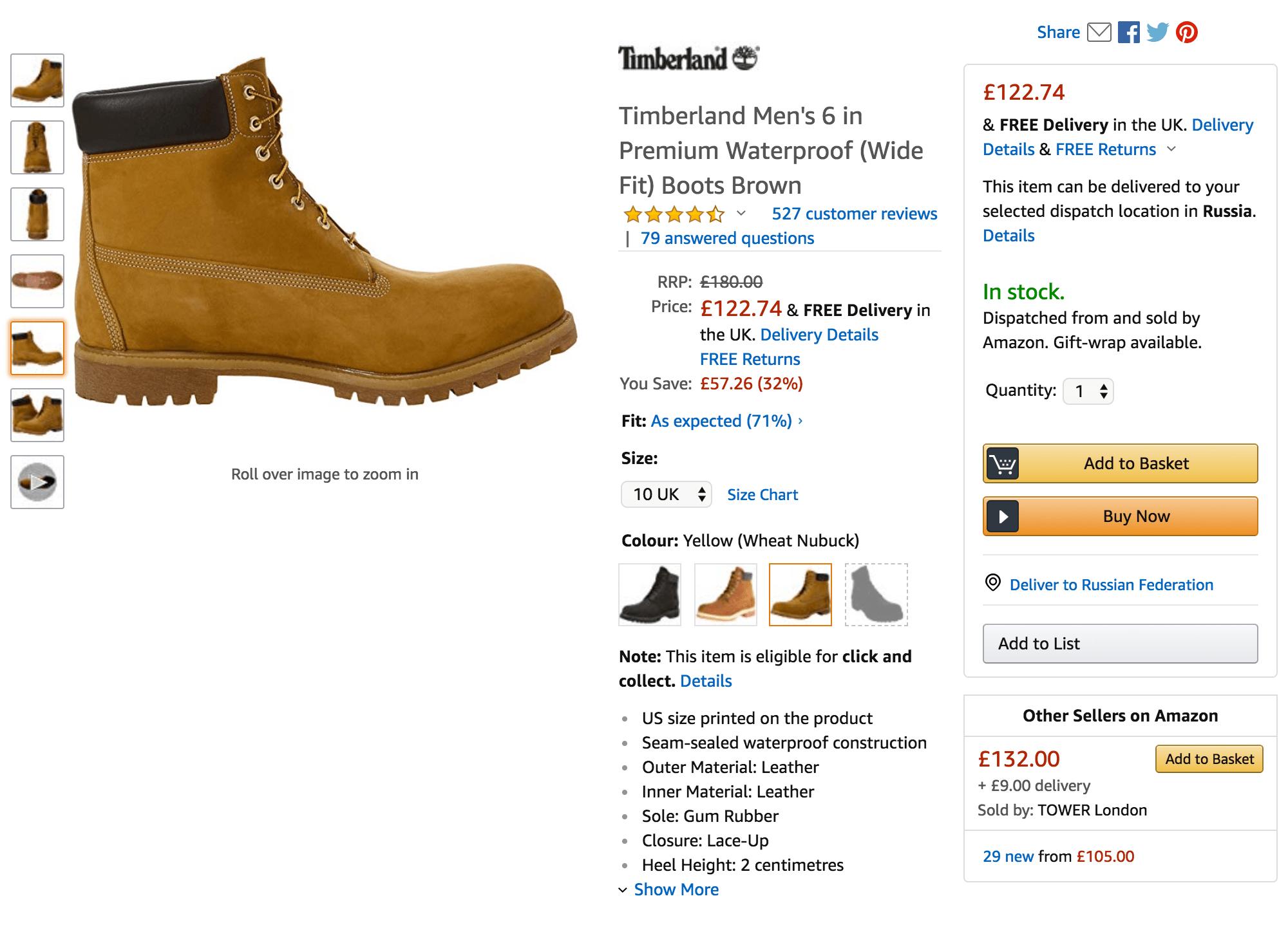 На британском «Амазоне» ботинки оказались дешевле, чем на американском