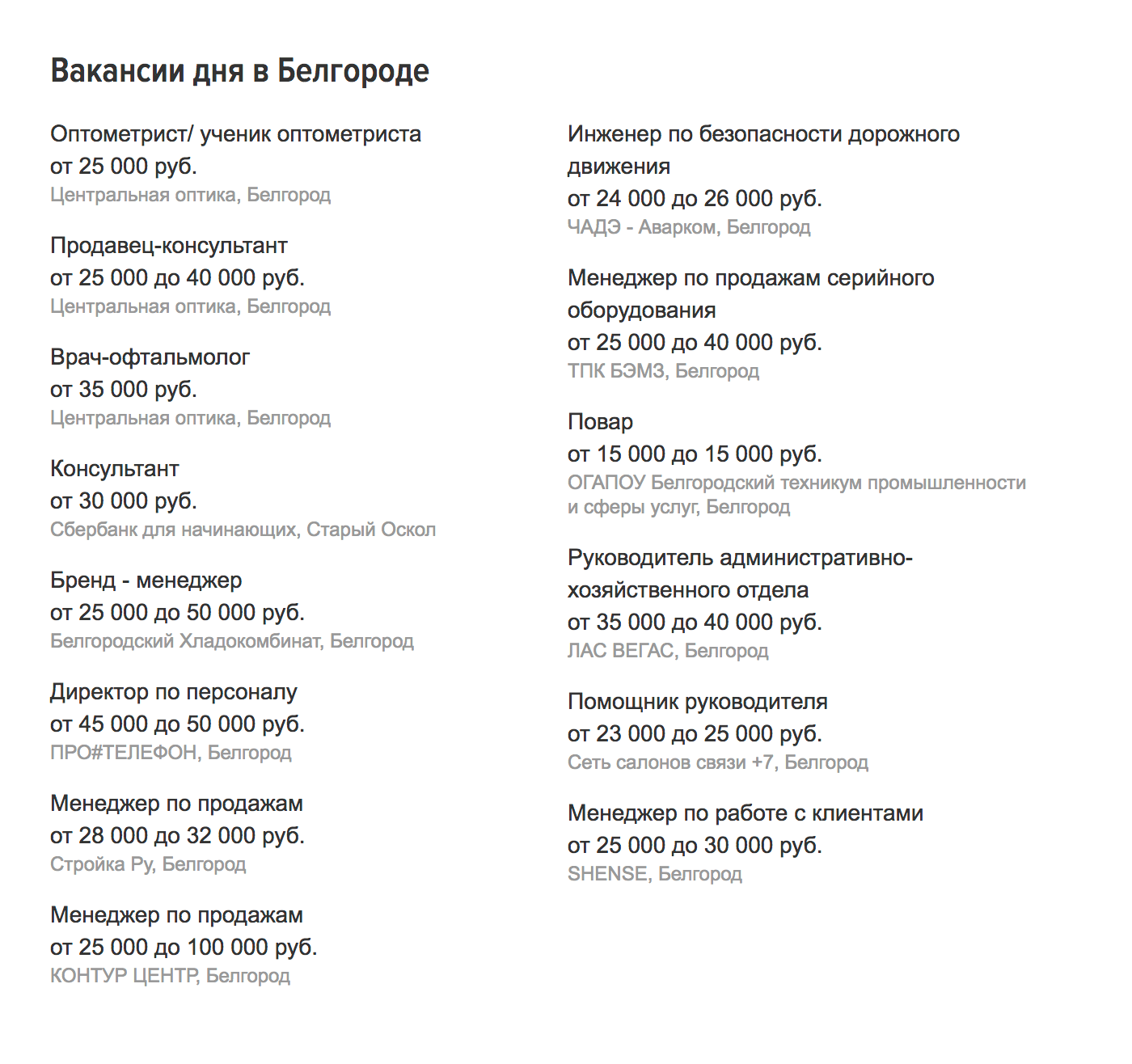 Белгородские зарплаты на «Хедхантере» начинаются от 16 000 р.