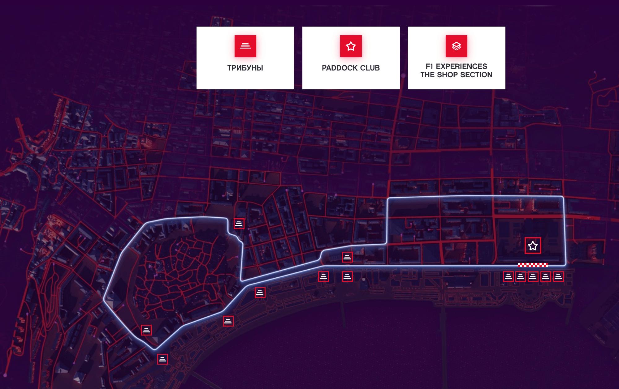Карта размещения трибун. Источник: сайт Гран-при Азербайджана