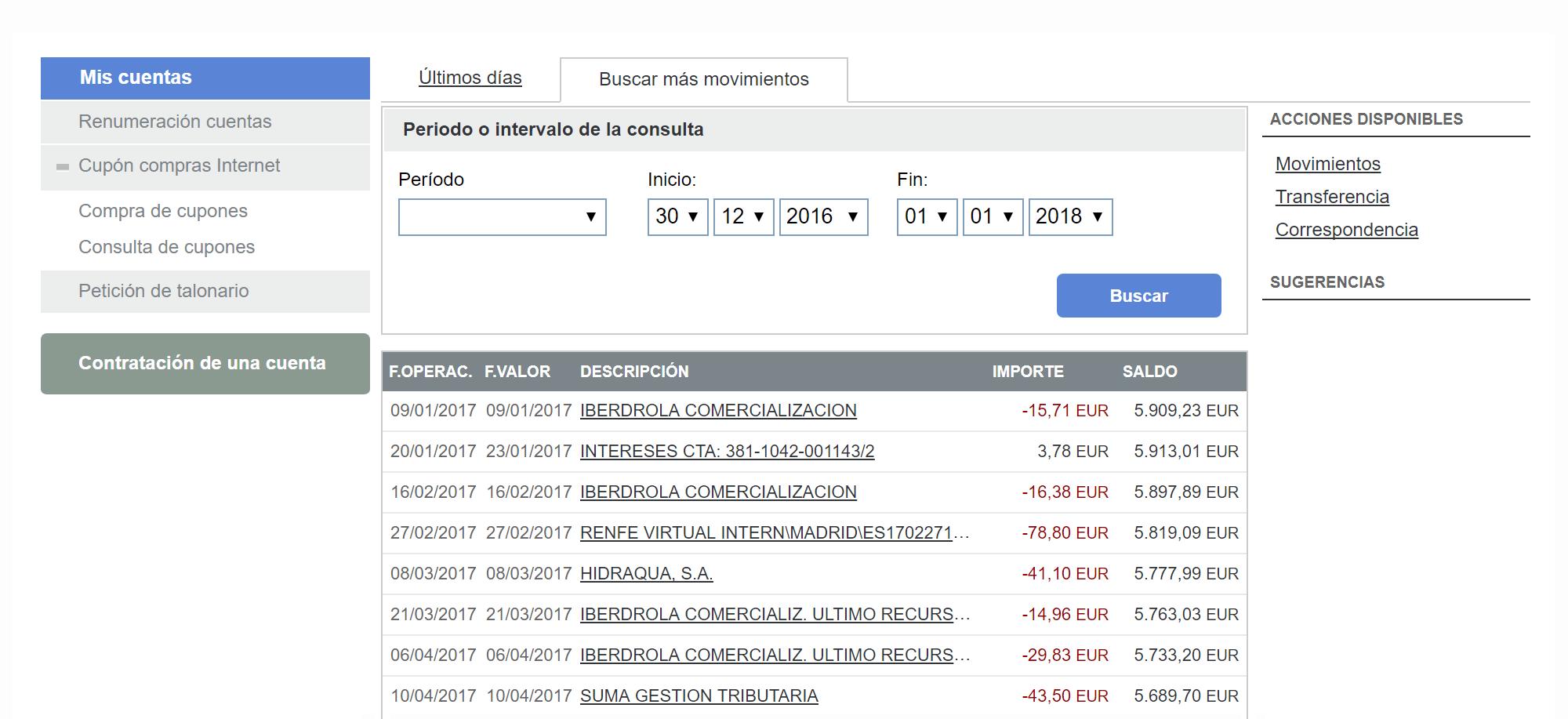 Выписка по счету Николая в испанском банке: «Ибердрола» списывает деньги за электричество, «Гидраква» — за воду, «Сума» — муниципальные налоги