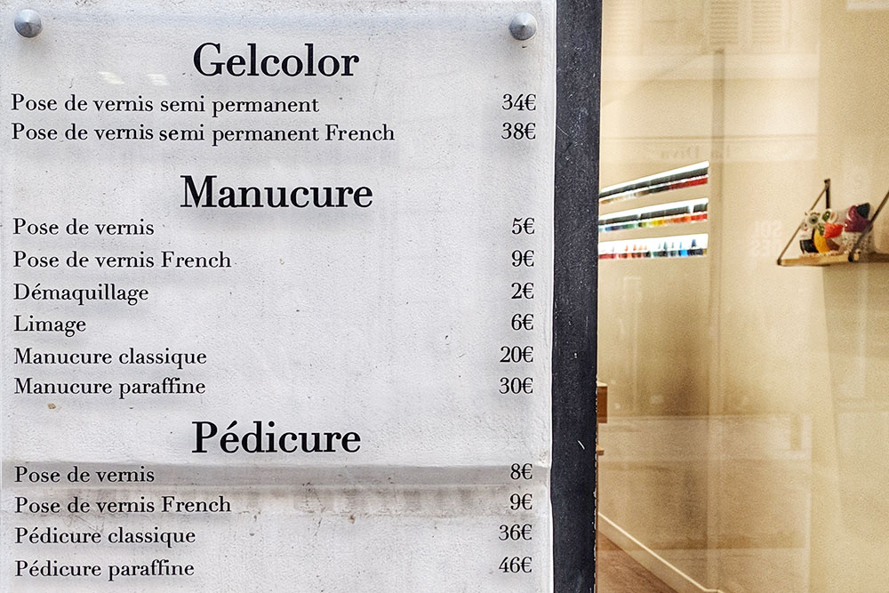 Цены на услуги в местном маникюрном салоне