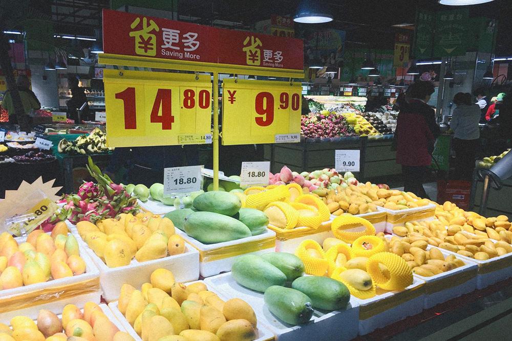 Разные сорта манго в наличии весь год — их привозят с острова Хайнань