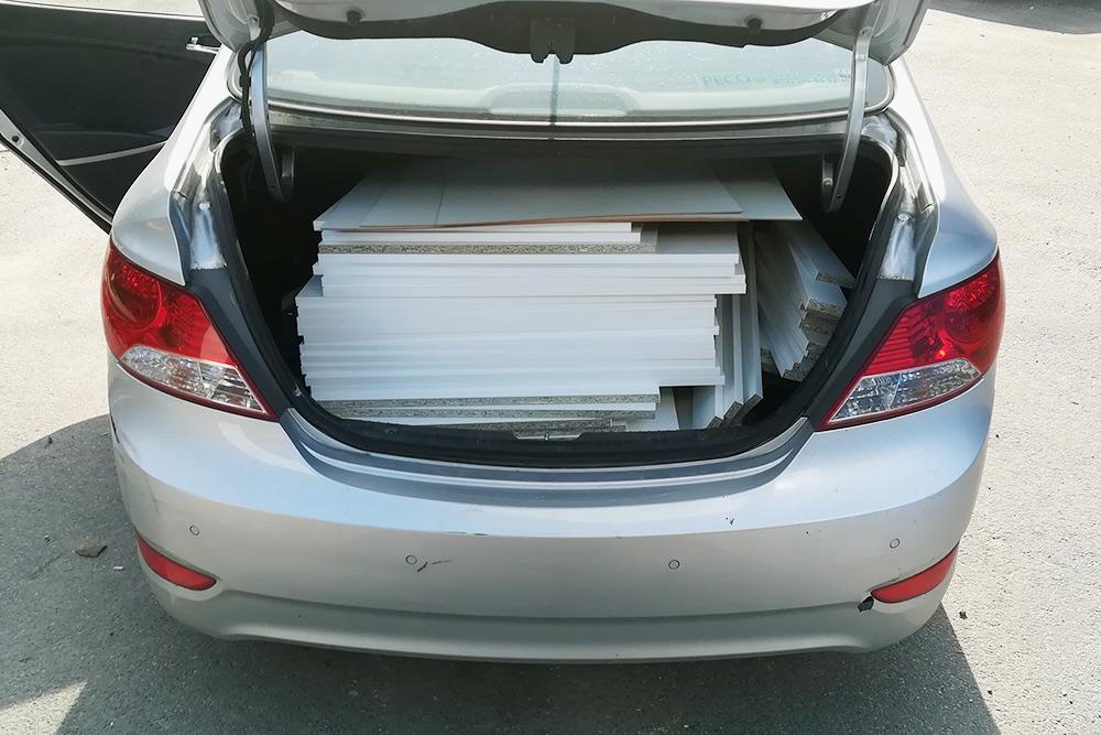 Чтобы не платить за доставку, я перевозил доски в своей машине