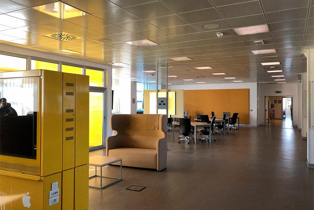 Лаборатория. Здесь проходит почти весь день. Пространство напоминает опенспейс в современном офисе