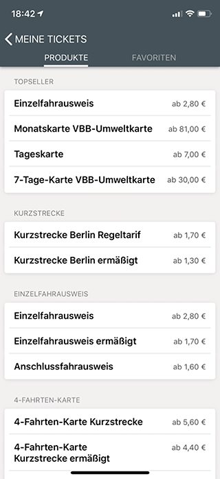 Неполный список всех возможных билетов в официальном приложении берлинского транспорта
