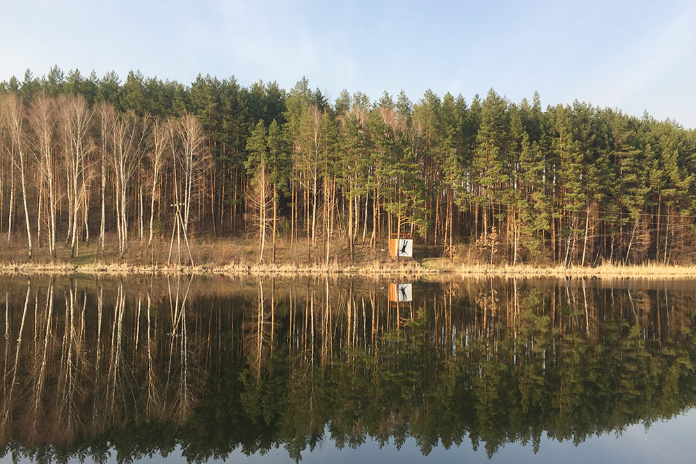 Лес на берегу Мезенского пруда в парке-отеле «Мечта» — местные называют его озером. Через водоем протянут троллей — аттракцион для скоростного спуска по тросу. Прокатиться стоит 500<span class=ruble>Р</span>