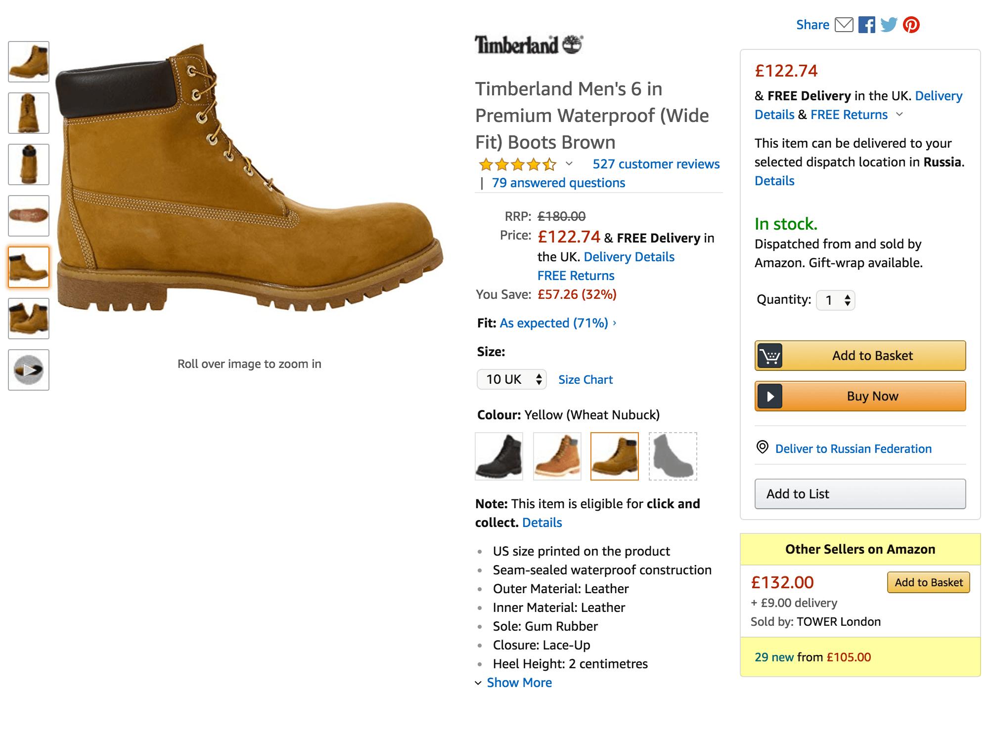 В графе «Other sellers on Amazon» написано, сколько всего компаний продают эти ботинки