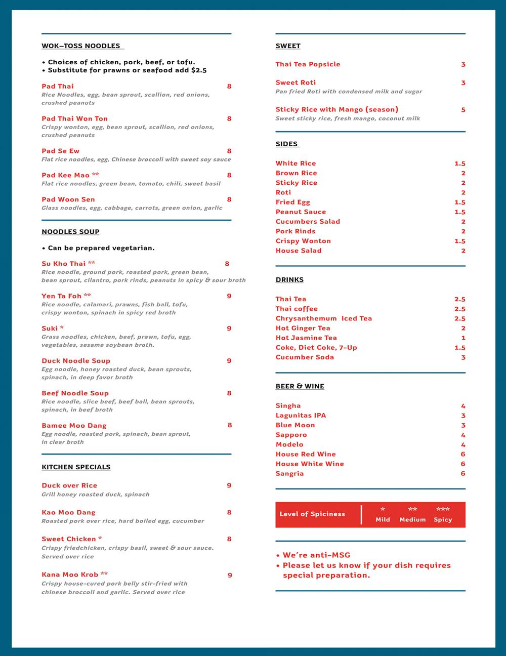 Чтобы понять порядок цен, посмотрите меню из тайского кафе, где мы часто обедали вместе с однокурсниками