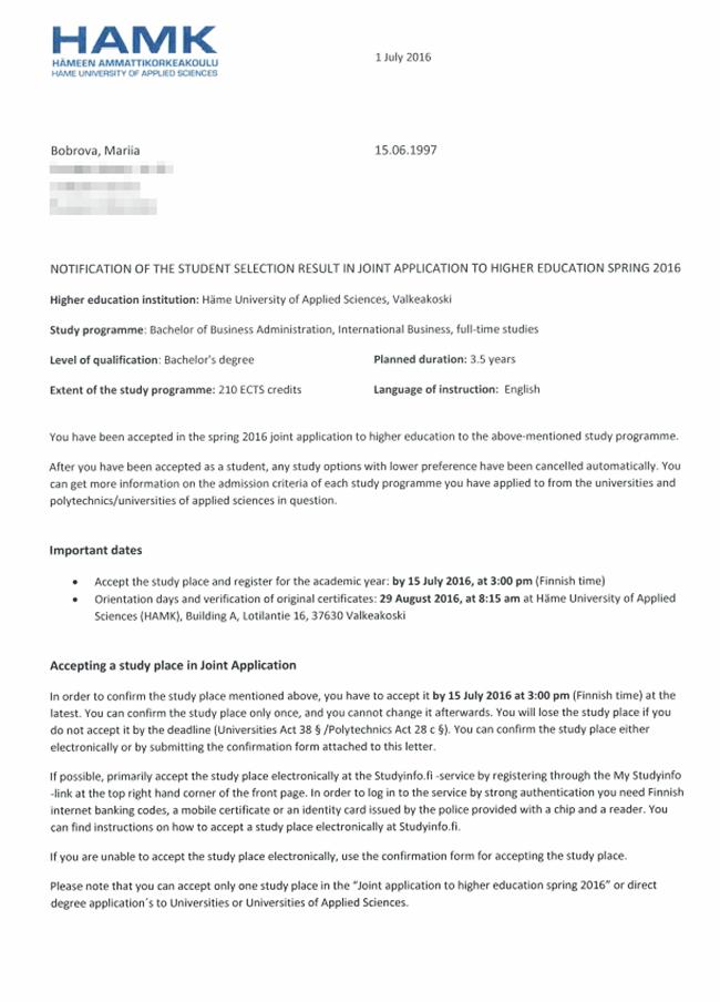 Официальное письмо о зачислении в выбранный мною финский вуз