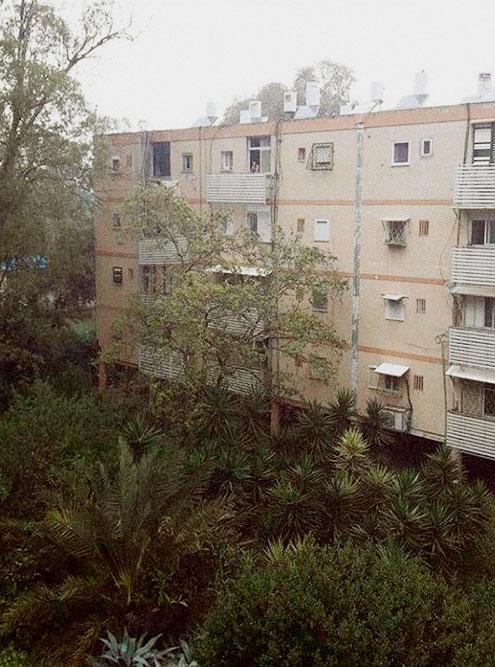 Наш дом. Белые бочки на крышах — солнечные бойлеры длянагрева воды, они есть почти в каждой квартире