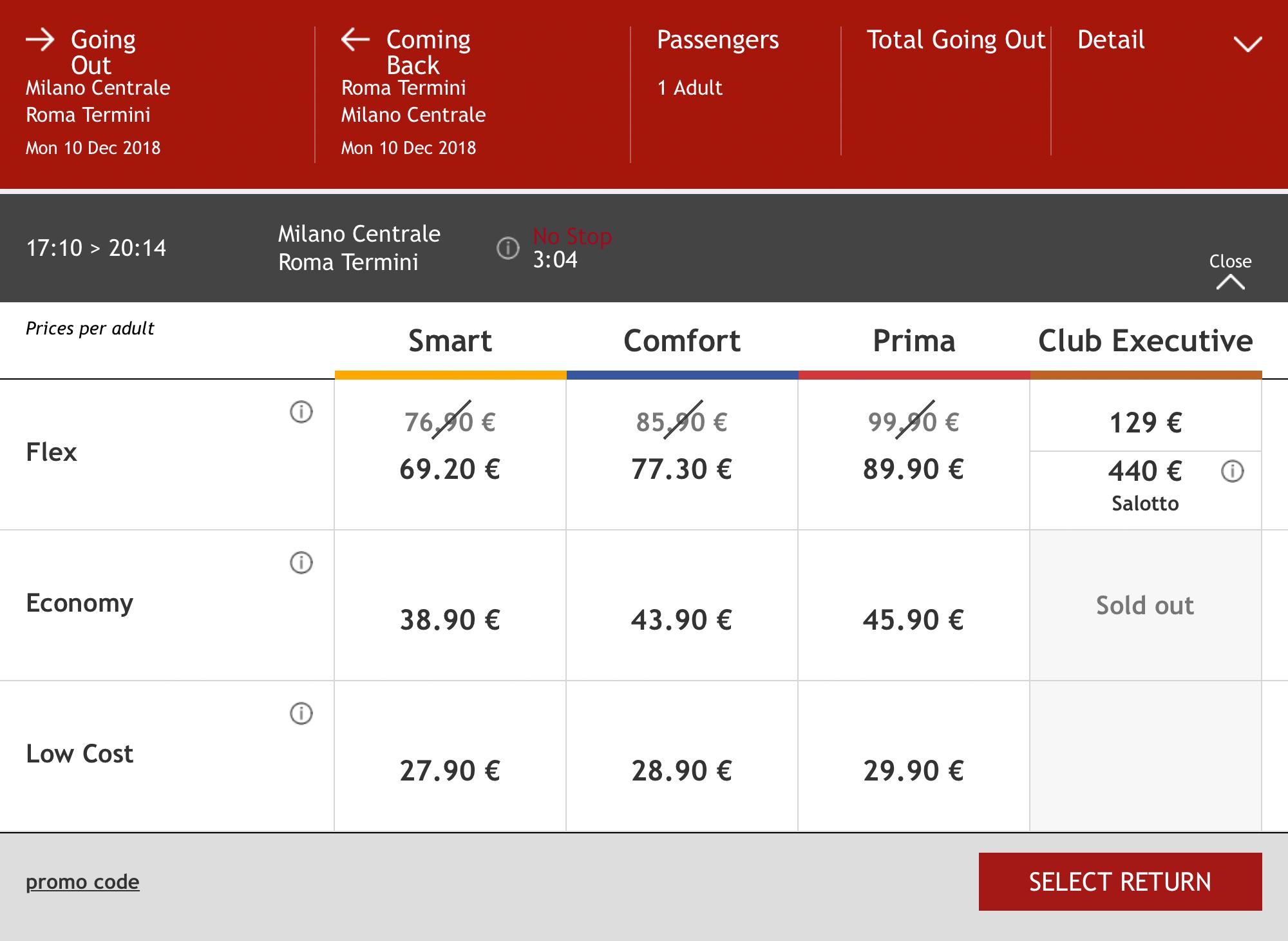 Цена зависит от поезда и категории билета. Чем ближе дата отправления, тем дороже