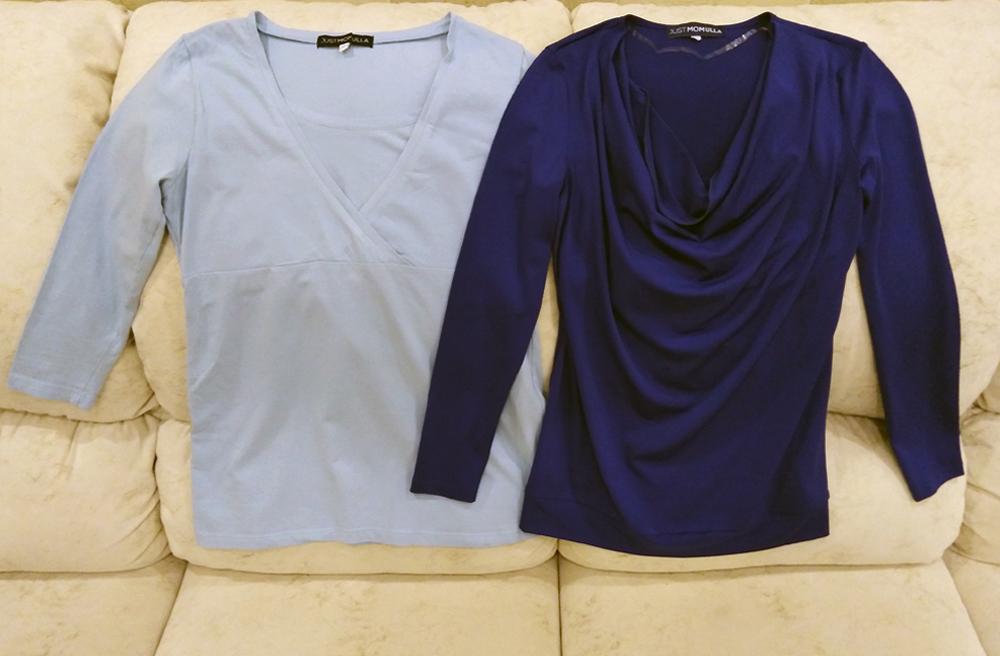 Я купила две блузки за 700 р. и 750 р.. Но они оказались бесполезны: я носила обычную одежду, а в людных местах кормила сцеженным молоком из бутылки. На «Авито» продают блузки длякормления от 130 р.