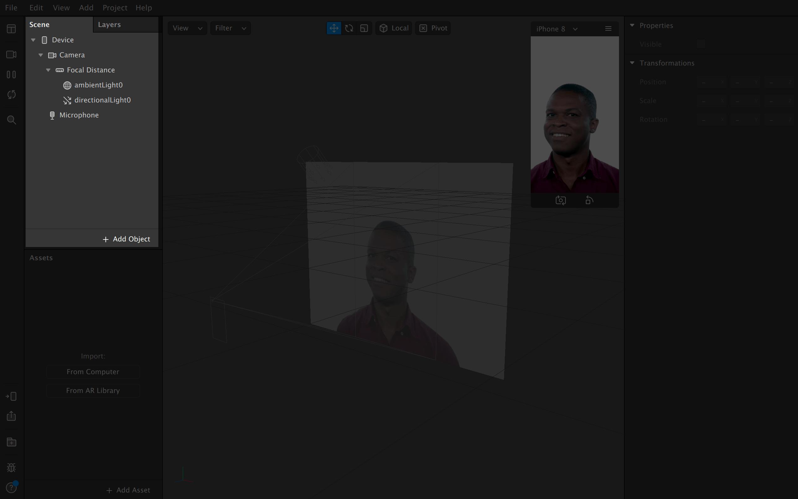 Это сцена, справа от нее — слои. По умолчанию на сцене сразу находятся девайс и элементы освещения: окружающий свет — ambientLight0, и направленный свет — directionalLight0. Это значит, что персонаж стоит в светлом месте и на него направлено какое-то освещение