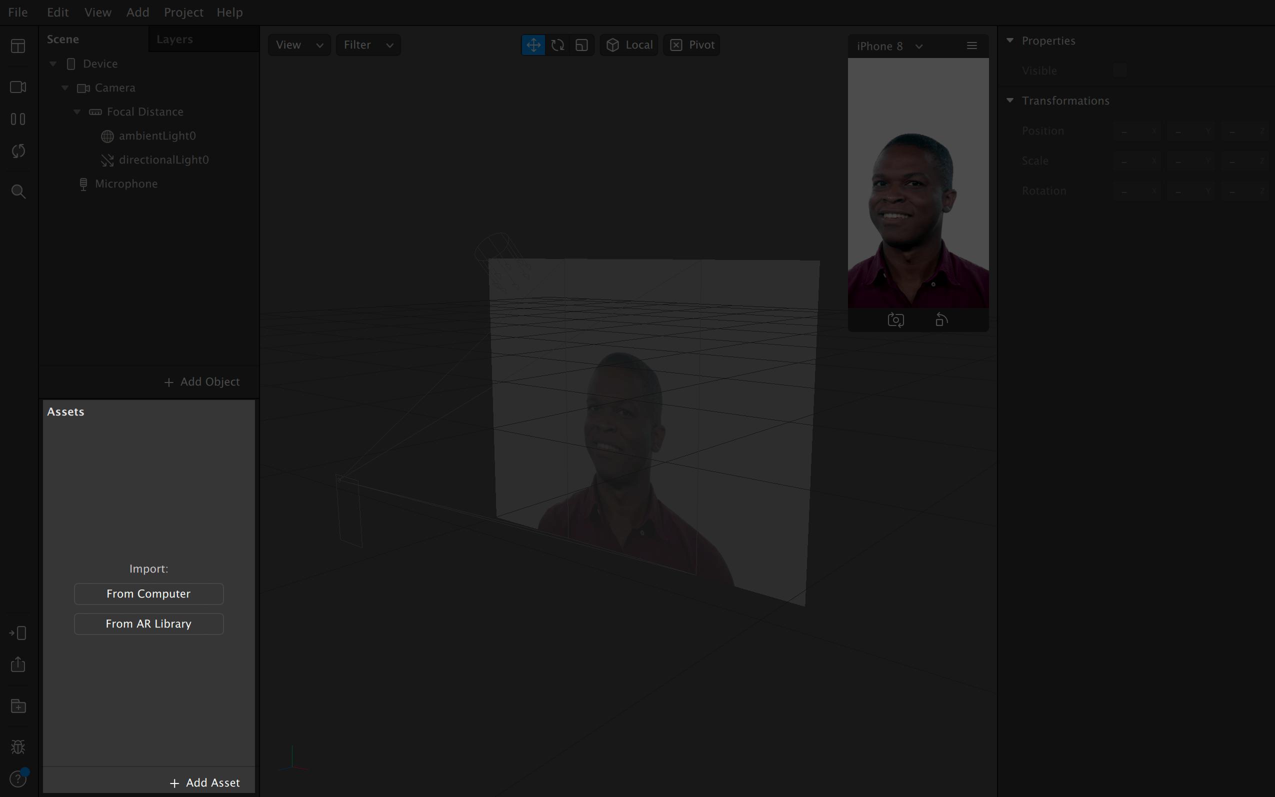 Сейчас в активах пусто, но сюда можно добавить, например, фото и поставить его на фон за персонажем