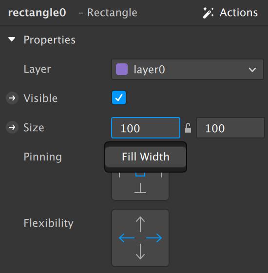 Чтобы растянуть прямоугольник, нужно вменю Size кликнуть поцифрам иввыпадающем меню выбрать Fill Width иFill Height