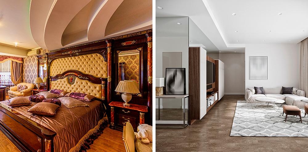 Комната с низкими потолками может превратиться в «пещерку» благодаря дополнительным навесным конструкциям