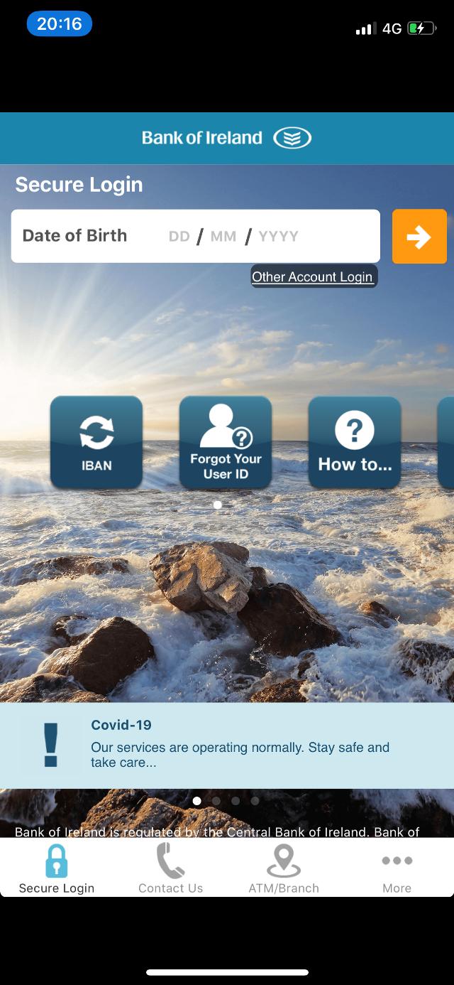 Так выглядит мобильное приложение Bank ofIreland