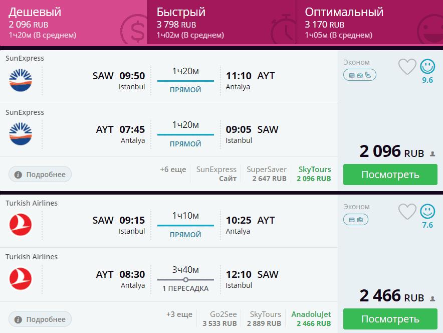 Обычная цена на авиабилеты из Стамбула в Анталью и обратно