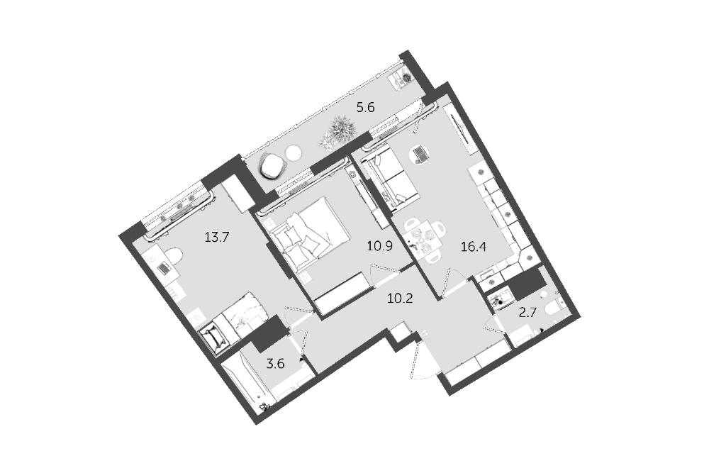 Квартира вмоем доме площадью 57,5м² за7,4млн рублей. Квартира сдается с«белой» отделкой: выровненными стенами, полом ипотолком, нобезпокрытия исантехники