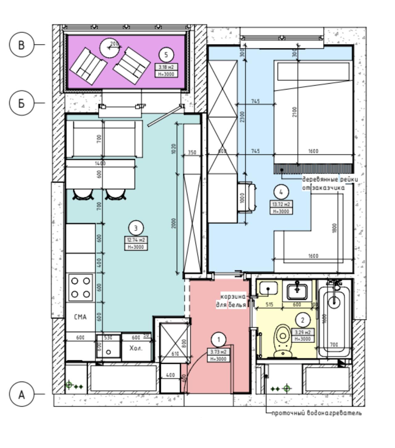 Так выглядела наша квартира наплане, который составила дизайнер. Кухня обозначена бирюзовым цветом