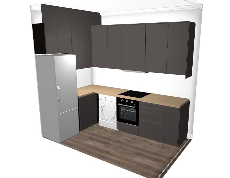 Так выглядел итоговый вариант нашей кухни впланировщике «Икеи». Слева сверху мы запланировали декоративную панель — она скрыла трубу, которую оставил застройщик
