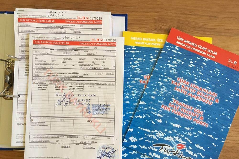 Пример оформленного транзит-лога. Фото: irmakyachting.com