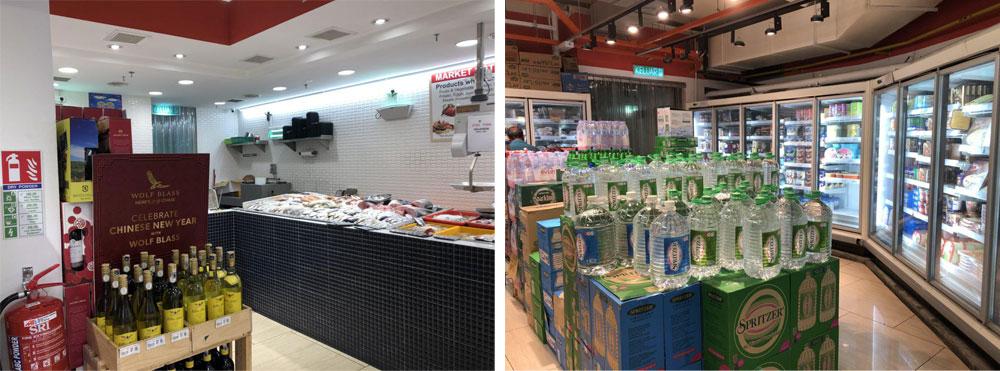 Алкоголь, свинина и прочая нехаляльная еда в магазине стоит по углам. Для этих товаров отдельная касса