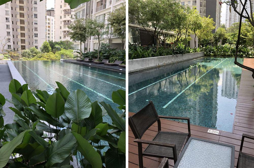 В бассейне можно потренироваться или просто посидеть у воды