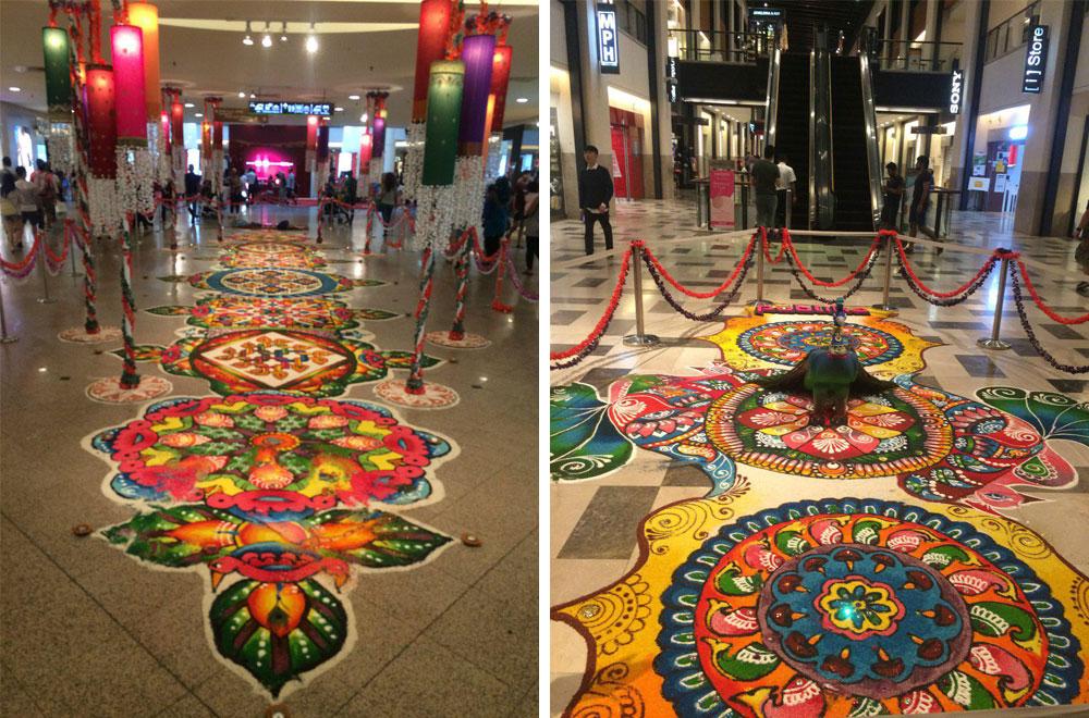 Так украшают пол в гипермаркете к празднику Дипавали — фестивалю огней. Орнаменты символизируют победу добра над злом. Хоть Малайзия и мусульманская страна, индуистские традиции здесь очень сильны