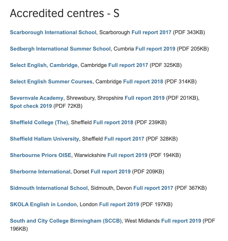 Список аккредитованных школ можно найти на сайте Британского совета