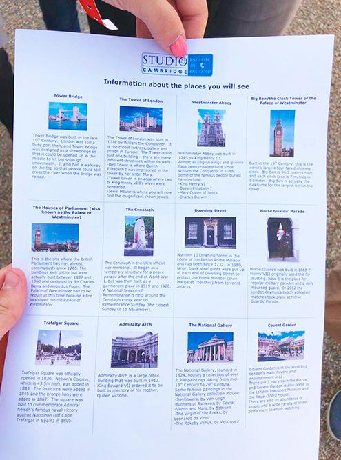 Лист с фотографиями достопримечательностей и краткой информацией о них, который нам давали по приезде на экскурсию