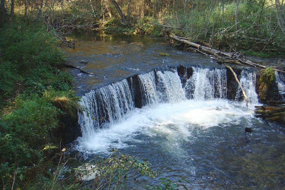Водопад на реке Белой в Новгородской области. Он полноводный и весной, и осенью